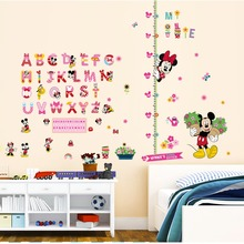 Cartoon Minnie Mickey Mouse Alphabet Wall Stickers Nursery Kids Living Rooms Bedroom Home Decor 3d pvc Wall Decals