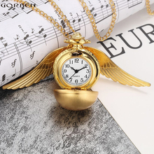 Luxury Retro Golden Ball Pocket Watch with Wings Steampunk Small Quartz Pocket Watch Chain Necklace Christmas Pendant for Women(China)