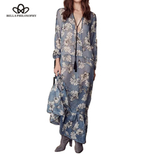 2017 spring summer new women V-neck long sleeve chiffon long dress floral flower print blue pink Khaki real photo(China)