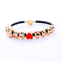 2017 New Arrival Cute Emoji Expression Beaded Heart Bracelets & Bangles For Women Jewelry PU Leather Bracelet Fine girl Gift(China)