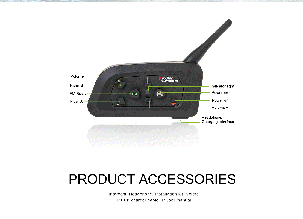 2Pc 1200M V4 BT Multi Interphone Bluetooth Intercom Waterproof FM Motorcycle Headphone Helmet Headset Communicator 4 Riders