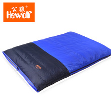 Hewolf high quality 2 person use split white duck down filling high-quality thick warm down double sleeping bags(China)