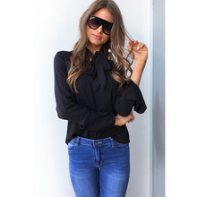 2017 Autumn Long Sleeve Casual Women Tops Bowknot Slim Office Lady Elegant Chiffon Blouses Flare Sleeve Tops(China)