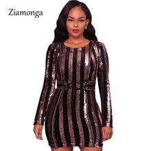 f5514c687536 Ziamonga 2017 Winter Women Elegant Luxury Sequin Dresses Women Bodycon Tight  Sexy Club Party Dress Long Sleeve Bandage Dresses