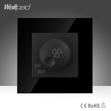 Wallpad Smart Home Fan Switch Black Crystal Glass Fan Rotary Speed Control Wall Switch ,Free Shipping(China)