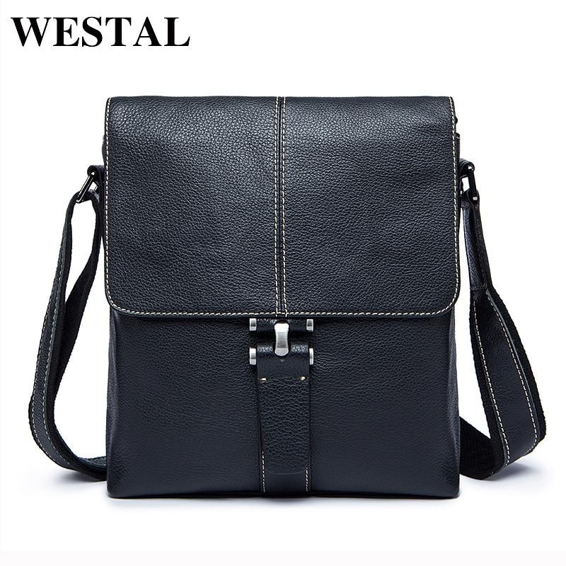 WESTAL Genuine Leather Men Bag Male Messenger Bags Mens Man Casual Shoulder Crossbody bags flap mens leather bag Handbag 8835<br>