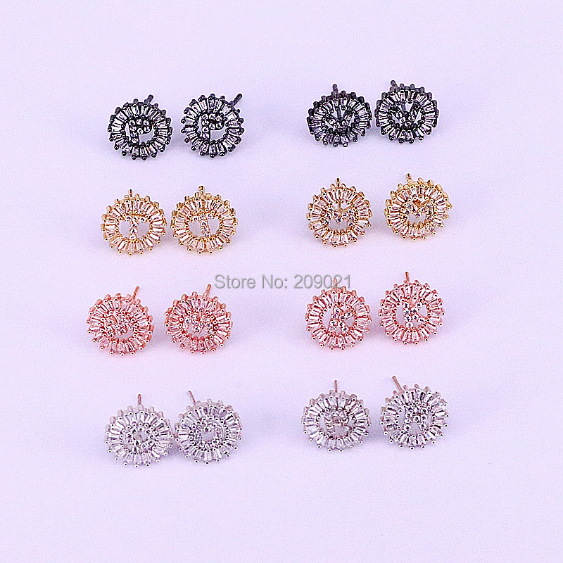 10pair New Arrival Trendy 26 Letters Stud Earrings for women jewelry round shape mirco pave cz initials earring charm