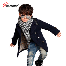 Clearance 6T Kids Clothes Winter Boys Trench Plaids Tweeds Children's Bouble Breasted Long Coat Kids Warm Clothes(China)