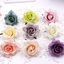 2pcs/lot 7cm Handmade Mini Artificial Silk Rose Flowers Heads DIY Scrapbooking Flower Kiss Ball For Wedding Decorative