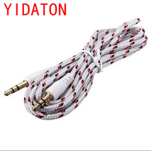 YIDATON Best Price 1M White Nylon Braided 3.5 mm Jack Audio Stereo Male Cable Aux Extension Cable Cord for Smartphone