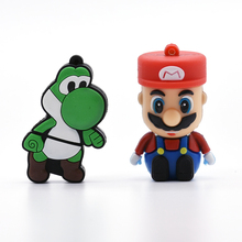 Mario cartoon USB Flash Drive pen drive 8GB Mario Dinosaur shaped 64GB memory stick u disk 4GB 16GB 32GB pendrive cool BOY Gift(China)