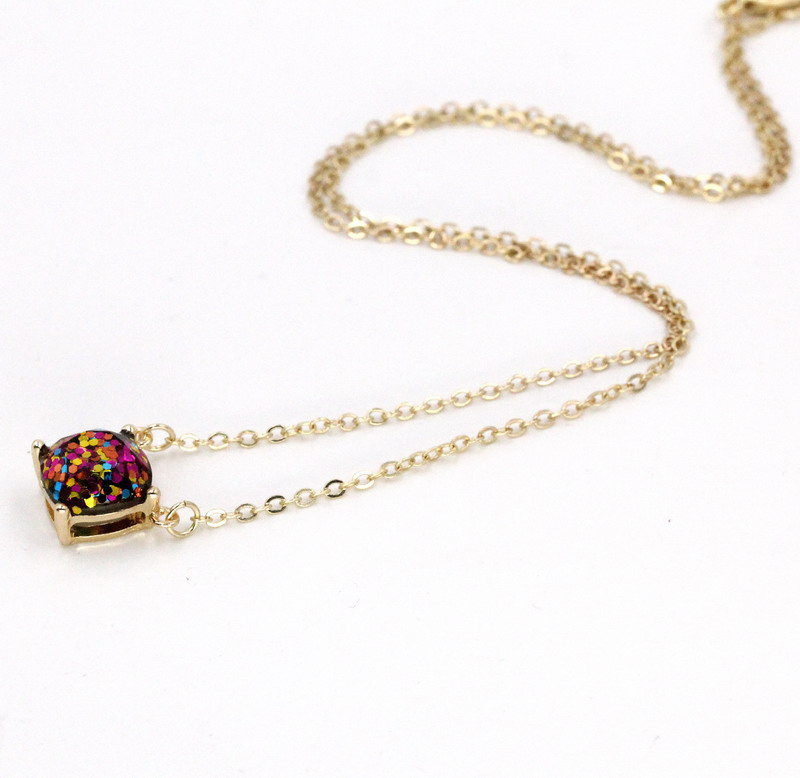 2016-new-personality-14-glitter-colors-choker-square-dot-necklace-small-cute-shinny-color-pendant-necklace (3)