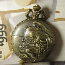 2017 mens womens vintage Retro style Bronze Pocket Watch(Big Size) Pendant Necklace Steam train america railway steampunk quartz