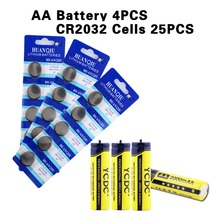 YCDC Bulk Sale 1.2V AAA+AA Pre/Stay Charge Ni-MH Cells Toy Rechargeable Battery +25Pcs CR2032 Cell Ni-MH  watch battery