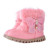 New Autumn Winter Children Shoes Girls Pu Leather Snow Boots Fashion Bow Rabbit Fur Kids Boots Flats Ankle Shoe Short Boot Girl