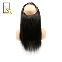 Pre Plucked 360 Lace Frontal Closure Straight Bleached Knots With Baby Hair Brazilian Remy Hair Natural Black By King Rosa Queen