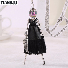 YLWHJJ hot new black leather tassel doll lovely statement necklace women long pendant girls princess alloy brand fashion jewelry(China)