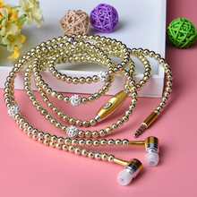 ALANGDUO Pearl Necklace Earphone In-Ear Jewelry Beads Earphones With Built-in Mic For iPhone For Samsung Xiaomi Smart Phone(China)