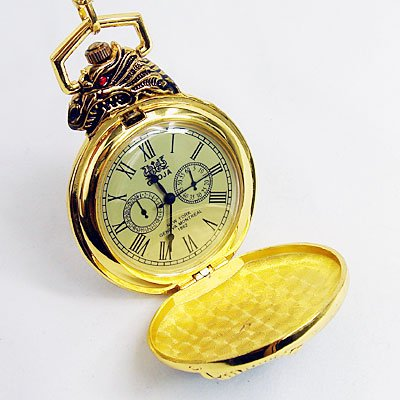 1862 Antique Golden Dragon Style 12/24Hour Pocket Watch cool<br><br>Aliexpress