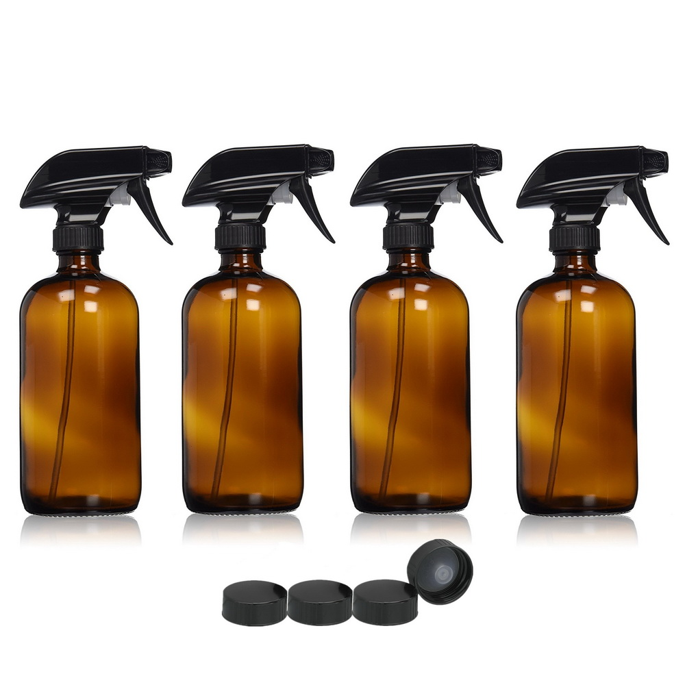 4pcs Large 16 Oz 500ml Empty Amber Glass Spray Bottle Containers w/ black trigger spray for essential oils cleaning aromatherapy<br>