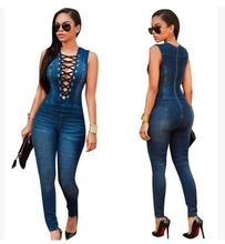 2017 Womens Summer Sleeveless Back Zipper Long Jeans Jumpsuits Sexy Denim Lace Up Playsuits Bodycon Overalls Female Jeans K161