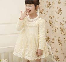Promotion Baby Girls Cotton Lace Mesh Long Sleeve Dresses, Princess Kids Fall Fairy Boutique Dress Retail