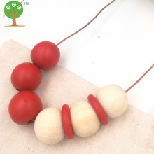 newest design Geometric jewelry wooden beads Necklace minimalist modern red necklace boho tribal design NW129