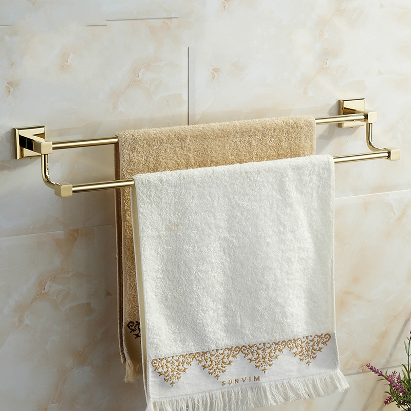 European  Gold Stainless Steel Towel Rack Towel Holder 2 Layer Anti Rust Polished Towel Bar Wall Mount Bathroom Accessories E8<br>