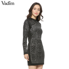 Vadim vintage Geometric Pattern Rhinestone dress elastic Turtleneck long sleeve bodycon slim cute party dresses vestidos(China)
