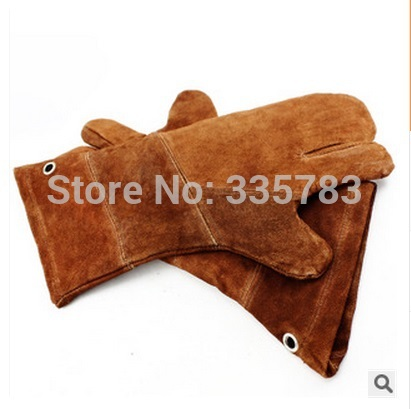 New 38 cm khaki leather welding gloves resistant to high temperature resistant puncture-proof cutting protective gloves<br><br>Aliexpress