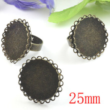 100pcs Antique Brass Pad Open RING Lacework Base Round Cabochon Base 25mm