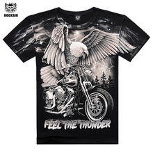 New 2017 Arrival 3D Printed On Shoulder Camisetas Casual Men's Wear Cotton Eagle Cool Summer T Shirt Famous Brand Men Clothing(China)
