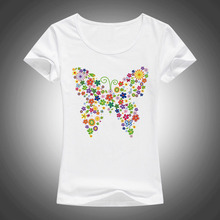 2017 New Creative Flower Butterfly Design Women Fashion T shirt Short Sleeve Tops Printed t-shirt Tee Shirts F75(China)