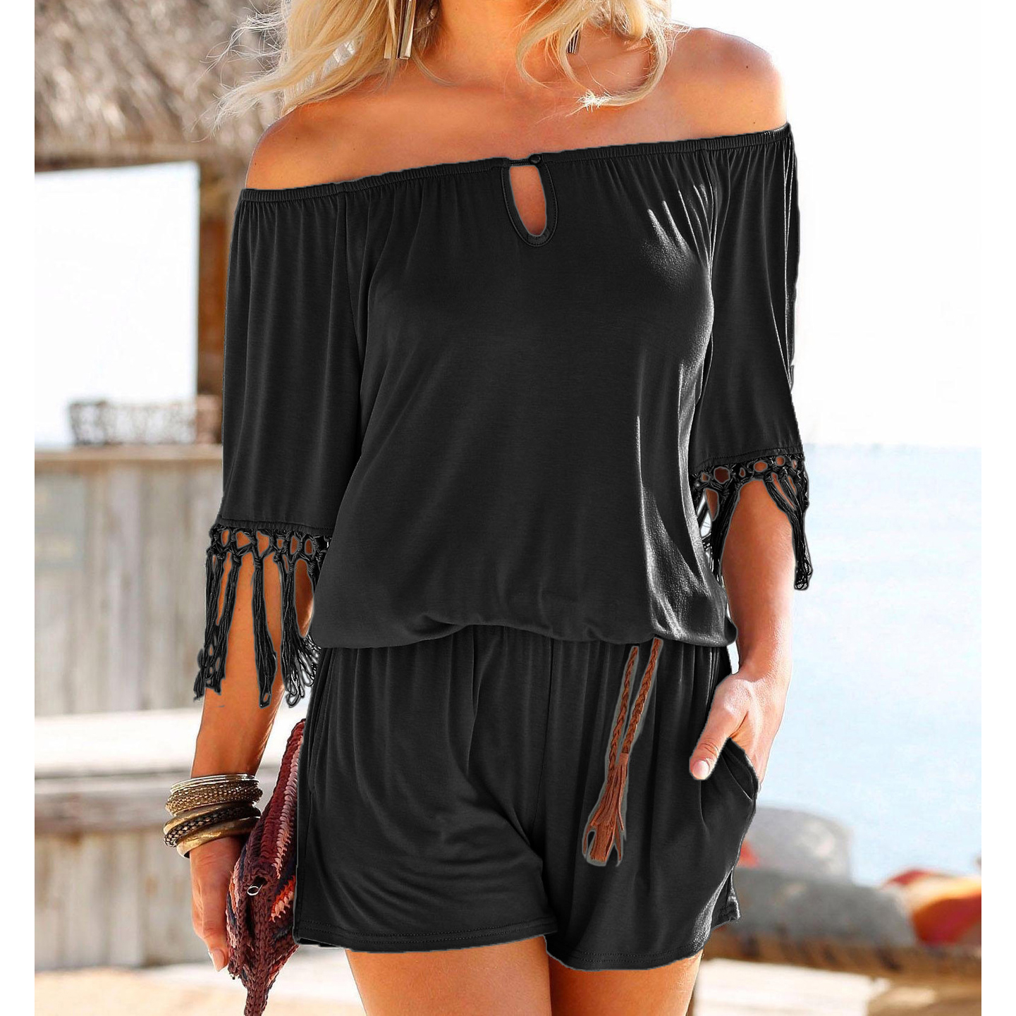 Casual Women Summer Playsuits Sexy Slash Neck Tassel Beach Jumpsuits Shorts Overalls Boho 2018 Girls Pockets Rompers XXL GV923 5