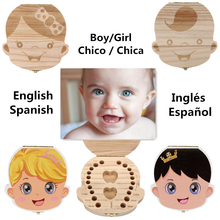 2 Colors Tooth Box Organizer for Baby Milk Teeth Save Wood Storage Box for Kids Boy&Girl English Spanish Storage Boxes D13