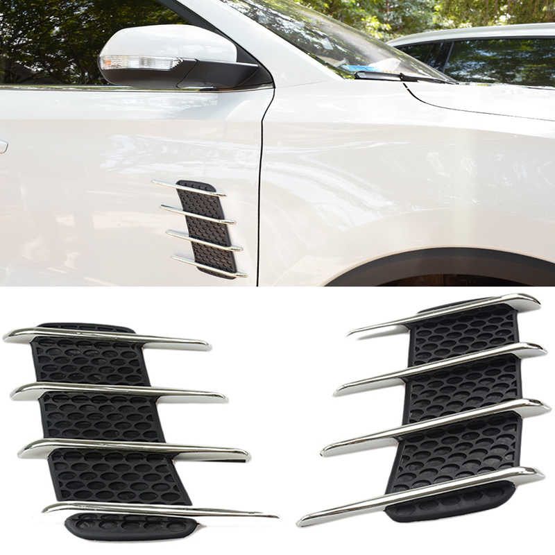 2Pcs Car Side Fender Exterior Decorative Chrome Air Intake Vent Air Flow Grille Fit For Benz Audi Ford VW Car Styling Accessorie