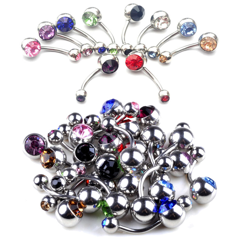 10Pcs/lot Wholesale 316L Surgical Steel Crystal Belly Button Rings Belly Piercing Naval Body Jewelry Belly Rings Navel Piercing