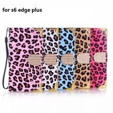 For iPhone6S Plus 5S 5C 4S Electroplating Flip Case Luxury Bling Rhinestone Leopard Grain Case for Samsung Galaxy Note5 S6 Edge