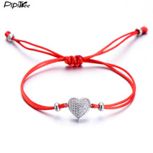 Pipitree Romantic CZ Stone Paved Love Heart Bracelet for Women Lovers Adjustable Red String Couple Bracelets Lucky Jewelry Gift(China)
