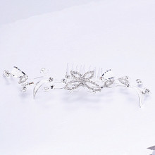 2PCS Silver Plated Rhinestone Butterfly Bridal Wedding Tiara Hair Slide Comb Pin