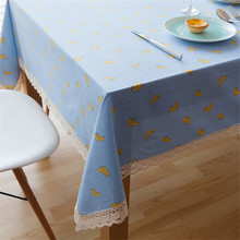 Cartoon Cute Linen Cotton Rectangula Banana Christmas Tablecloth Blue Nappe Table Cover Table Cloth Lace Home Decor(China)