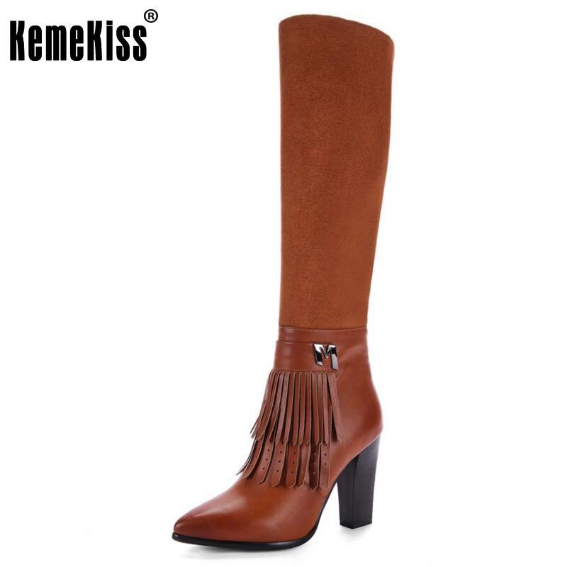 KemeKiss Size 33-43 Women Knee Boots Tassel High Heel Boots Zipper Warm Fur Shoes For Cold Winte Botas Long Boots Women Footwear<br>