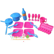Free Shipping Kid's play house toys dish, pan, saucepan kitchen cooking Kit for Barbie Doll