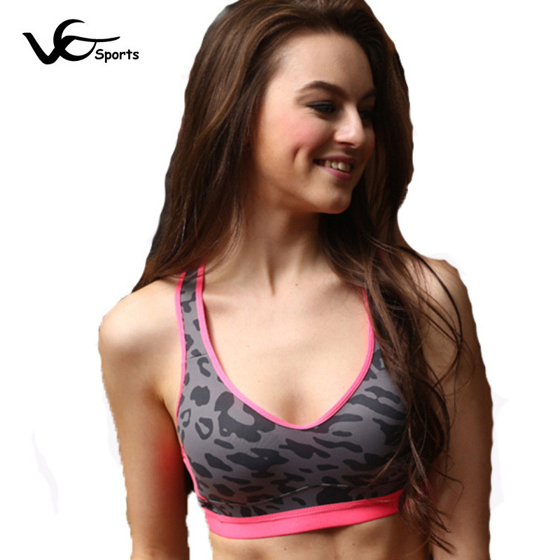 2016 Sport Ladies Sports Bra Top Wicking Super Soft Material Breathable Shockproof sports bra Cotton Stretch Vest Rose Gray(China (Mainland))