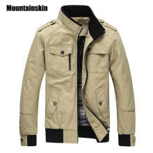 Mountainskin Male Outerwear Overcoat Military-Jacket Spring Army Khaki Autumn Winter