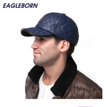 NEW Fashion 6 Panel Fitted Baseball Cap Men's Winter Hats with Ears Keep Warm Cotton Lining Bone casquette snapback hats for men(China)