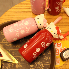 Top Quality 304 Stainless Steel Hellow Kitty Theme Cartoon Style Children Thermos Outdoor Water Cup 300 / 400ml Colorful Cups