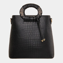 Design Women Handbag Wood Handle Office Tote Bags Crocodile Embossed Women Messenger Bag High Quality Large Women Bags European