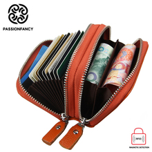 Buy Double Zipper Card Holder Pillow Designer Genuine Leather Rfid Blocking Women Wallet ID Credit Card Case Card Holders Cash Purse for $10.32 in AliExpress store