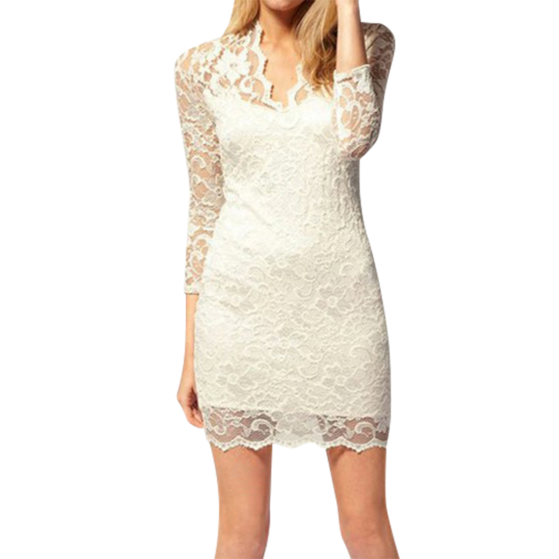Sexy Lace Dress 2016 Hot Summer Three Quarter Sleeve V Neck Women Sexy Dresses Women Dresses Vestidos(China)